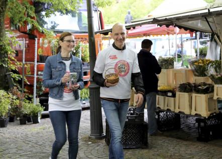Tombola auf dem Osnabrücker Wochenmarkt